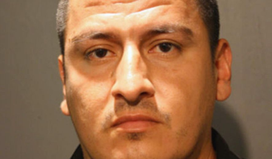 This undated photo provided by the Chicago Police Department shows 33-year-old Sergio Vicenteno who is charged with aggravated battery in an Aug. 1, 2014 attack at Chicago's Lollapalooza music festival. Vicenteno is accused of biting two men in a seemingly random attack as the Arctic Monkeys performed.  (AP Photo/Chicago Police Department)