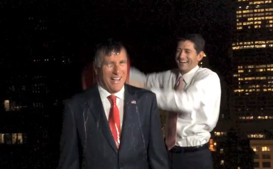 Former presidential candidate Mitt Romney took the ALS Ice Bucket Challenge with a little help from his former running mate, Rep. Paul Ryan.