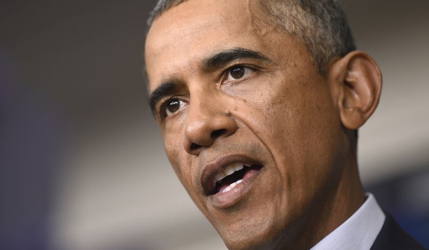 ** FILE ** President Obama as he speaks in the James Brady Press Briefing Room in the White House in Washington, Aug. 18, 2014. (Associated Press)