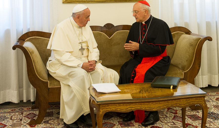 "FILE- In this file photo taken on Sunday, Aug. 10, 2014 provided by the Vatican paper L'Osservatore Romano, Pope Francis talks with Cardinal Fernando Filoni at the Vatican. Pope Francis' envoy to Iraq says religious minorities being attacked by Islamic militants need to be defended and protected so they can return home in security, reinforcing the Vatican's position that military force is justified in this case.  Francis has said it was ""licit"" to stop an unjust aggression, but that the international community — and not just a single country — must decide how. Cardinal Fernando Filoni went further in an interview Friday, Aug. 22, 2014, with The Associated Press upon his return from northern Iraq, where he delivered money and met with minority Christians and Yazidis. He said Kurdish leaders don't want ground troops, just equipment to fight.  (AP Photo/L'Osservatore Romano, File)"