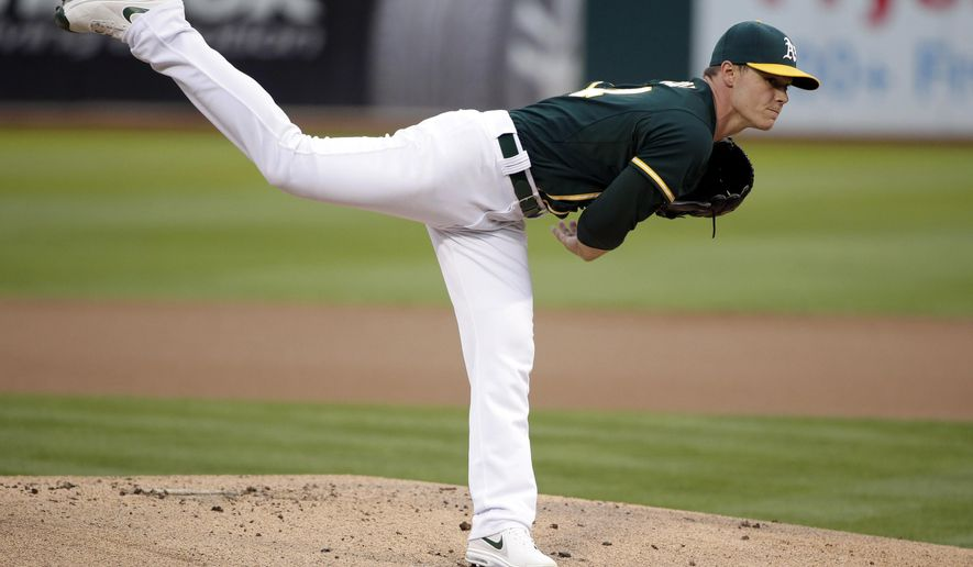 Oakland Athletics starting pitcher Sonny Gray throws to the Los Angeles Angels during the first inning of a baseball game on Friday, Aug. 22, 2014, in Oakland, Calif. (AP Photo/Marcio Jose Sanchez)