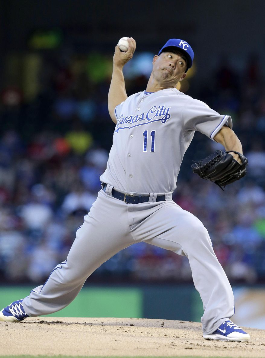 Kansas City Royals starting pitcher Jeremy Guthrie throws during the first inning of a baseball game against the Texas Rangers, Saturday, Aug. 23, 2014, in Arlington, Texas. (AP Photo/LM Otero)