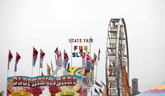 This Aug. 22, 2014 photo shows, the Ferris Wheel at the Chelsea Community Fair in Chelsea, Mich. Authorities said a teen's crutches might have caused a Ferris wheel cab to tip and two children to fall about 15 feet at the southeastern Michigan fair. (AP Photo/The Ann Arbor News, Patrick Record) LOCAL TV OUT; LOCAL INTERNET OUT