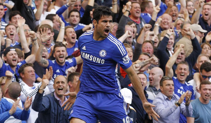 Chelsea's Diego Costa celebrates his goal against Leicester City during their English Premier League soccer match at Stamford Bridge, London, Saturday, Aug. 23, 2014. (AP Photo/Sang Tan)