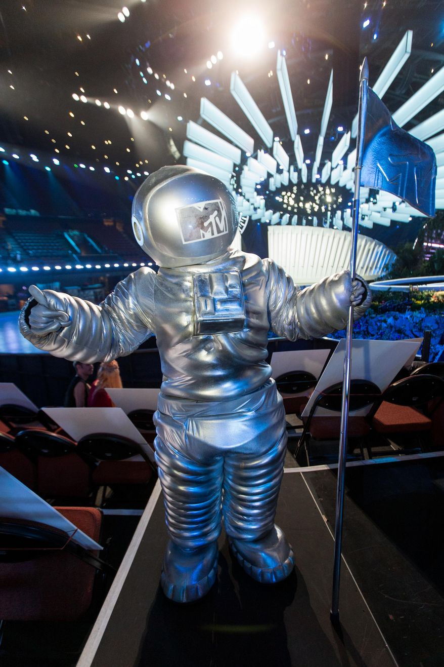 A MTV Moonman statue is displayed at the 2014 MTV Video Music Awards Press Preview Day at the Forum on Thursday, Aug. 21, 2014, in Inglewood, Calif. (Photo by Paul A. Hebert/Invision/AP) ** FILE **