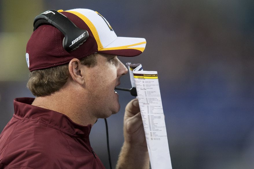 Washington Redskins' head coach Jay Gruden calls a play during the fourth quarter against the Baltimore Ravens during their pre-season game at M&T Bank Stadium on August 23, 2014 in Baltimore, Maryland. Baltimore won the game 23-17. (Pete Marovich Special to The Washington Times)