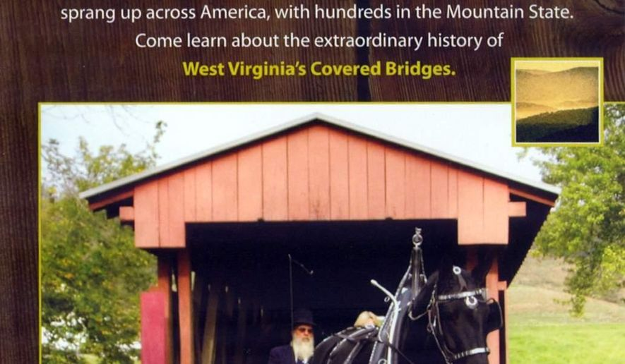 """ADVANCE FOR MONDAY, AUG. 25 AND THEREAFTER - This image provided by Vandalia Productions LLC, shows the cover of a book and educational film titled """"West Virginia Covered Bridges"""" that is available in state libraries.  (AP Photo/Charleston Daily Mail, Vandalia Productions LLC)"""