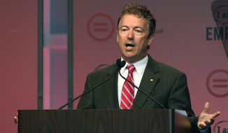 Sen. Rand Paul said former Secretary of State Hillary Rodham Clinton's war record is likely to give independents and even some Democrats pause at the thought of supporting her in 2016.