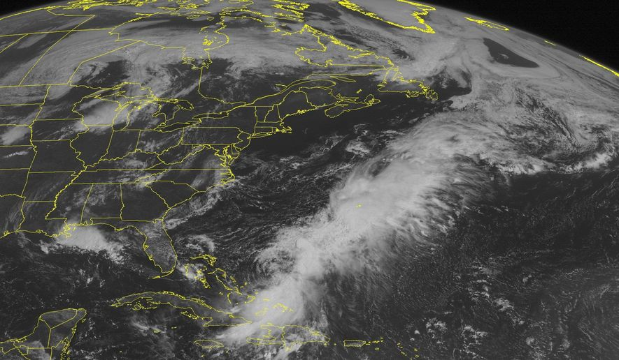 This NOAA satellite image taken Monday, Aug. 25, 2014, at 10:45 a.m. EDT shows showers and thunderstorms affecting portions of the central Gulf Coast as a frontal boundary was sinking into the region. Thunderstorms were also in place over the Upper Mississippi Valley and western Great Lakes as a cold front was slowly pushing in from the West.  Much of the East was sunny under the influence of high pressure.  Meanwhile, Tropical Storm Cristobal, which is expected to remain over the Atlantic, was producing showers and thunderstorms across the southeastern Bahamas, eastern Cuba and Hispaniola. (AP Photo/Weather Underground)