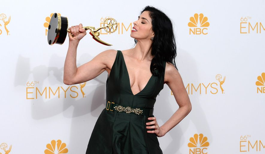 Sarah Silverman poses in the press room at the 66th Annual Primetime Emmy Awards at the Nokia Theatre L.A. Live on Monday, Aug. 25, 2014, in Los Angeles. (Photo by Jordan Strauss/Invision/AP)