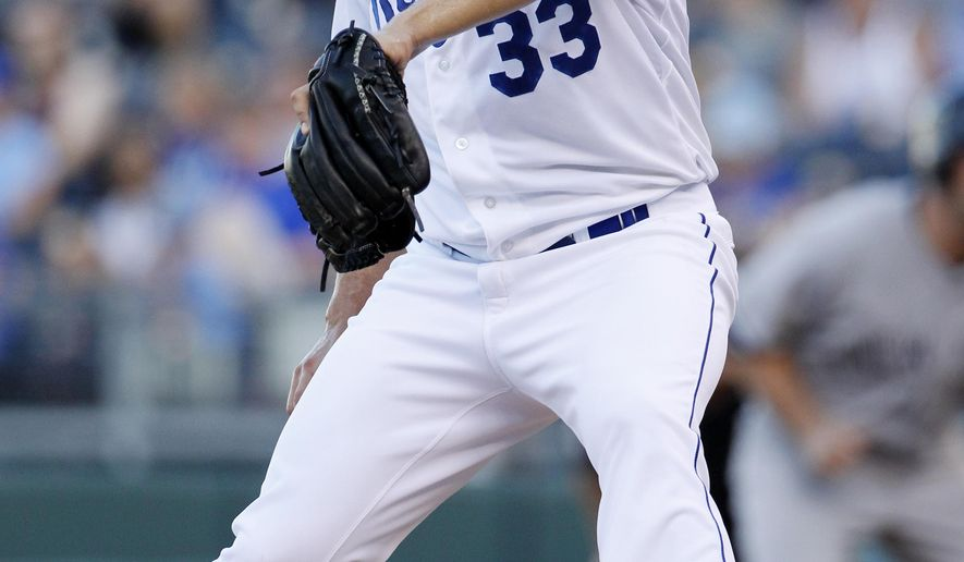 Kansas City Royals pitcher James Shields throws to a New York Yankees batter in the first inning of a baseball game at Kauffman Stadium in Kansas City, Mo., Monday, Aug. 25, 2014. (AP Photo/Colin E. Braley)