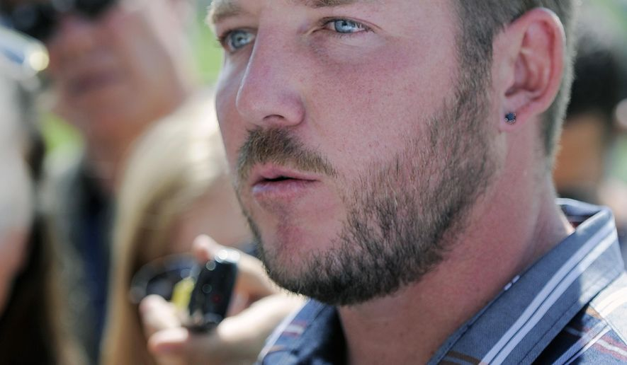 Denver Broncos kicker Matt Prater talks with the media after an NFL football practice in Englewood, Colo., on Monday, Aug. 25, 2014.  (AP Photo/Chris Schneider)