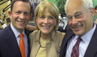 Democratic gubernatorial candidates Steven Grossman, left, Martha Coakley, center, and Donald Berwick pose for a photo after a debate at the Boston Herald Radio Studio, Monday, Aug. 25, 2014, in Boston. The three will face off for their party's nomination in the Sept. 9 primary. (AP Photo/Boston Herald, Ted Fitzgerald, Pool)