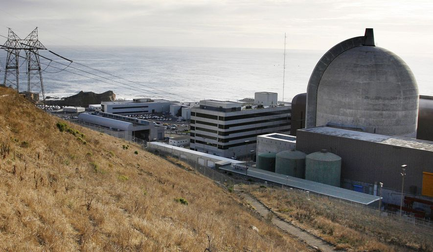 FILE - This Monday Nov. 3, 2008, file photo, shows one of Pacific Gas and Electric's Diablo Canyon Power Plant's nuclear reactors in Avila Beach on California's central coast. A senior federal nuclear expert is urging regulators to shut down California's last operating nuclear plant until they can determine whether the facility's twin reactors can withstand powerful shaking from any one of several nearby earthquake faults. (AP Photo/Michael A. Mariant, File)