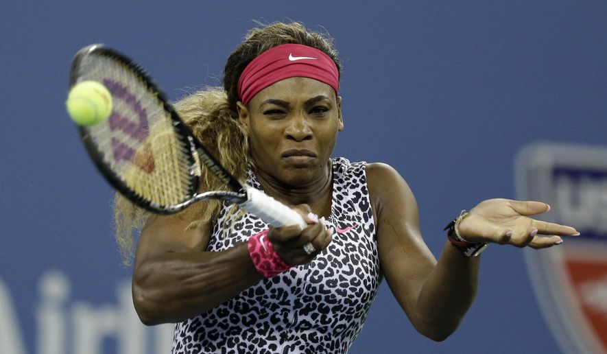 Serena Williams, of the United States,  returns a shot to Taylor Townsend, of the United States,  during the first round of the 2014 U.S. Open tennis tournament Tuesday, Aug. 26, 2014, in New York. (AP Photo/Darron Cummings)