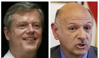 FILE - This combo of 2014 file photos shows Massachusetts Republican gubernatorial hopefuls Charlie Baker, left, and Mark Fisher, seeking their party's nomination in the Sept. 9 primary. (AP Photos, File)