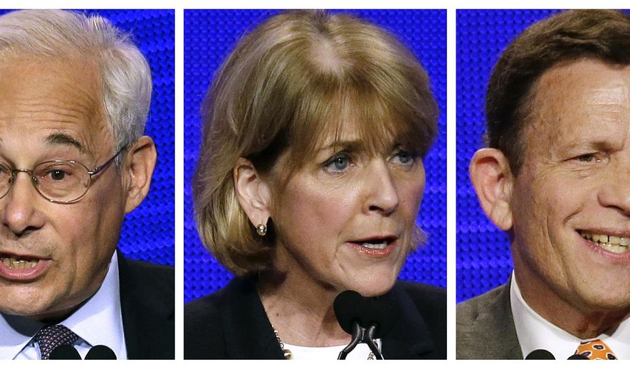 FILE - This combo of file photos taken on June 14, 2014, show Massachusetts Democratic gubernatorial hopefuls, from left, Don Berwick, Martha Coakley and Steve Grossman at the state Democratic Convention in Worcester, Mass. The three face each other for their party's nomination in the state's primary election on Sept. 9. (AP Photo Stephan Savoia, File)