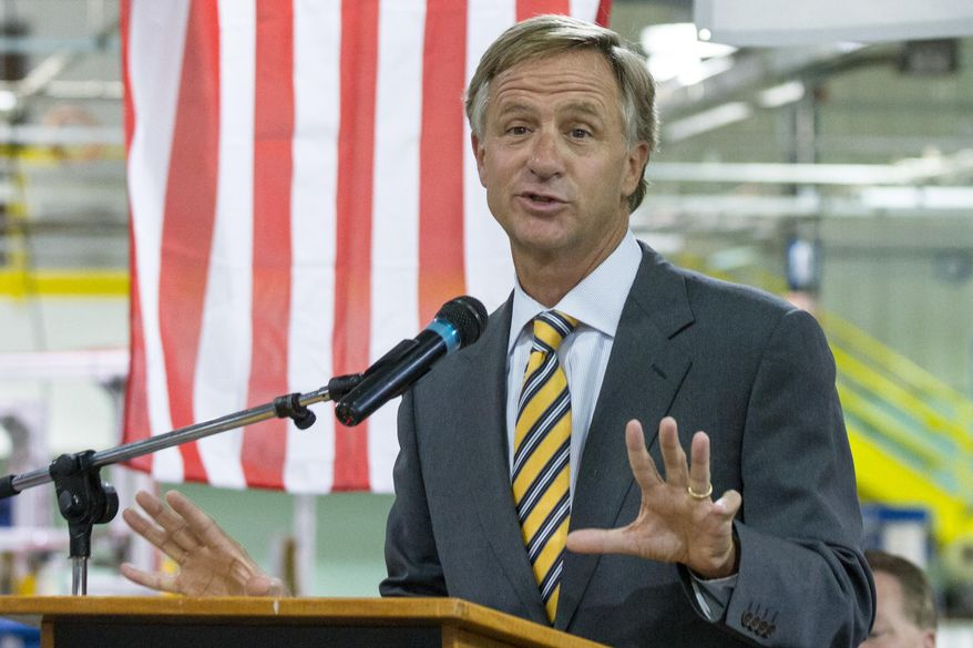 """Gov. Bill Haslam speaks at an economic development announcement in Cookville, Tenn., on Monday, Aug. 25, 2014. The Republican governor shrugged off a letter from state Rep. Rick Womick who had called it """"treasonous"""" for a political action committee run by Haslam supporters to target GOP lawmakers who opposed the adminstration on Common Core education standards. (AP Photo/Erik Schelzig)"""