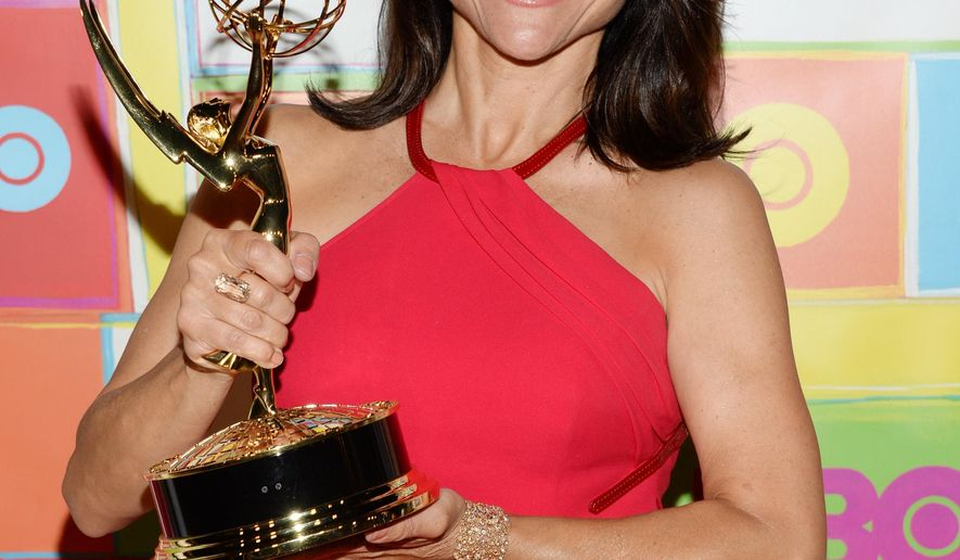 Actress Julia Louis-Dreyfus arrives at HBO's Post Emmy Awards reception on Monday, Aug. 25, 2014 in West Hollywood, Calif. (Photo by Evan Agostini/Invision/AP)