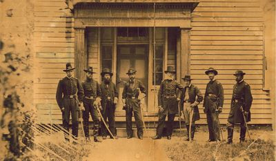 1st Lt. Alonzo Cushing (left) poses with other Union troops during the Civil War. Cushing is expected to be awarded the Medal of Honor nearly 150 years after he died defending a Union position during Pickett's Charge at Gettysburg. (Wisconsin Historical Society via Associated Press)
