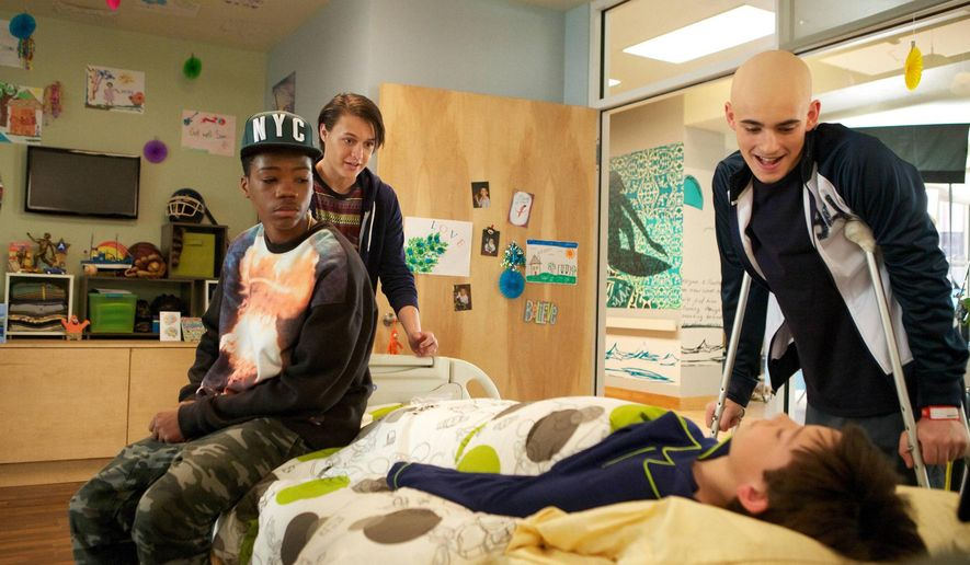 "This image released by Fox shows, from left, Brian Bradley, Nolan Sotillo, Griffin Gluck and Charlie Rowe from the ""Red Band Society,"" premiering Sept. 17. (AP Photo/Fox, Annette Brown)"