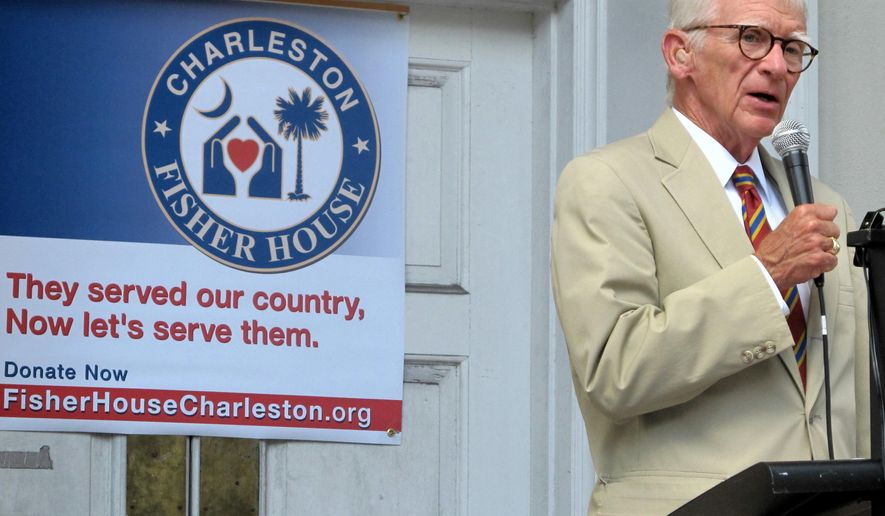 Charleston Mayor Joe Riley announces announces plans to build a Fisher House in the city during a news conference in Charleston, S.C., on Tuesday, Aug. 26, 2014. A Fisher House in a place where the families of veterans can stay for free while their loved ones are receiving medical care from the Department of Veterans Affairs. The Fisher House in Charleston will serve the families of tens of thousands of veterans from coastal South Carolina and Georgia. (AP Photo/Bruce Smith)