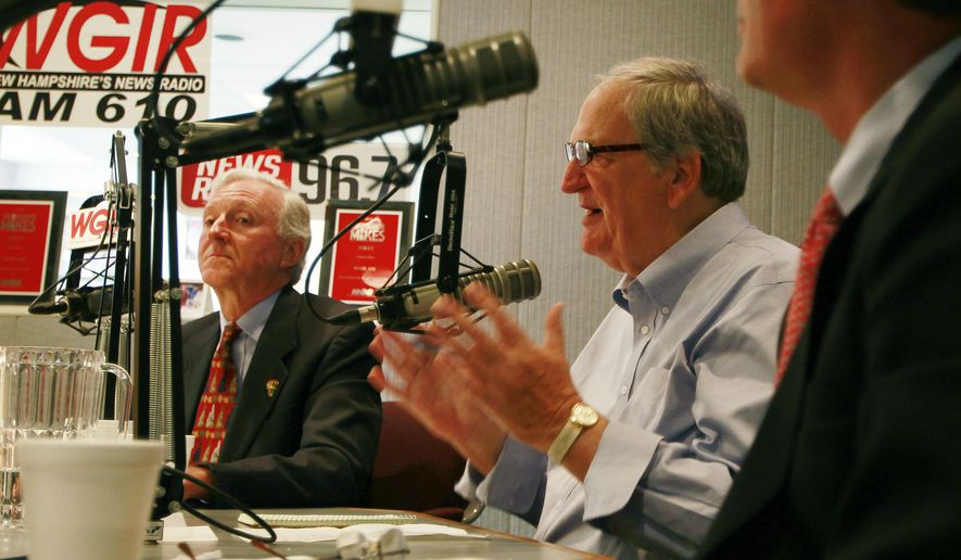 Republican U.S. Senate hopefuls, former state Sen. Jim Rubens, left, and former U.S. Sen. Scott Brown, right, listen as former U.S. Sen. Bob Smith speaks during a live radio debate Wednesday Aug. 27, 2014 at WGIR in Manchester, N.H. New Hampshire's state primary is Sept. 9.(AP Photo/Jim Cole) (AP Photo/Jim Cole)