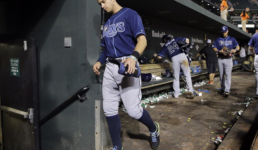 Tampa Bay Rays' Evan Longoria walks out of the dugout after a baseball game against the Baltimore Orioles, Tuesday, Aug. 26, 2014, in Baltimore. Baltimore won 4-2. (AP Photo/Patrick Semansky)