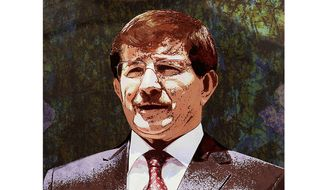 Turkey Davutoglu Illustration by Greg Groesch/The Washington Times