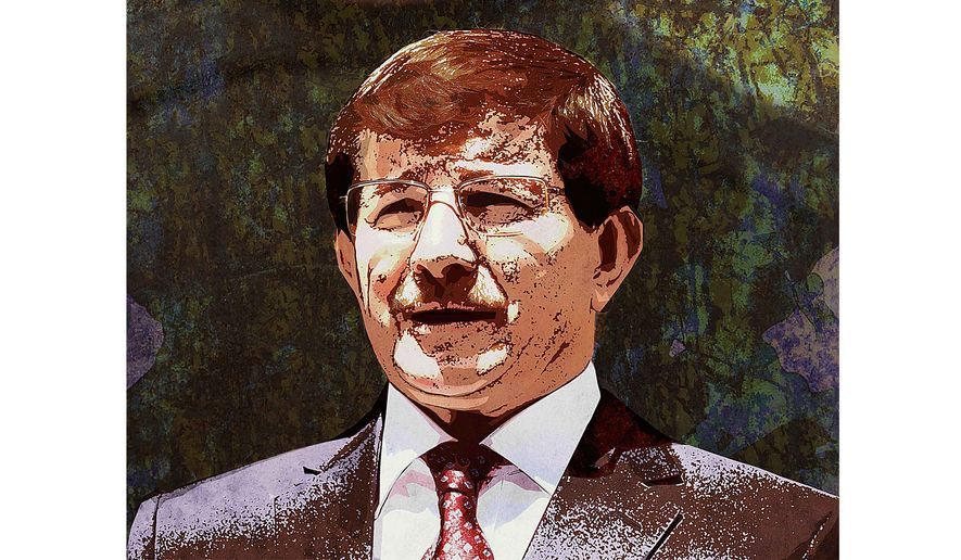 Turkey Davutoglu Illustration by Greg Groesch/The Washington Times