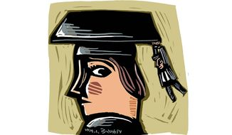 Banker Follows Graduates Illustration by William Brown