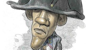 Napoleon Obamapart Illustration by Alexander Hunter/The Washington Times