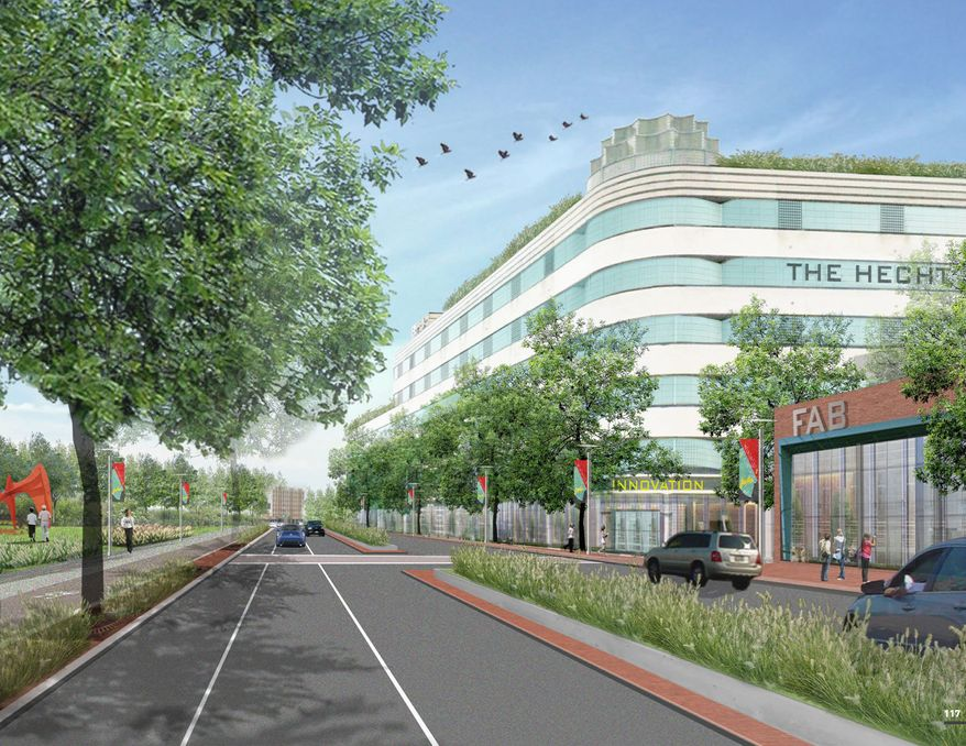 An artist's rendering envisions a transformed New York Ave. in Northeast. (WARD 5 INDUSTRIAL LAND TRANSFORMATION STUDY)