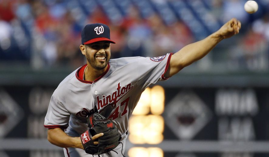 Washington Nationals' Gio Gonzalez pitches during the second inning of a baseball game against the Philadelphia Phillies, Tuesday, Aug. 26, 2014, in Philadelphia. (AP Photo/Matt Slocum)