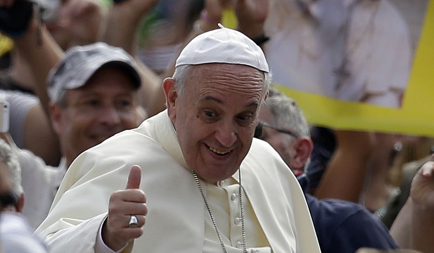 Pope Francis arrives with his popemobile in St. Peter's Square on the occasion of the weekly general audience at the Vatican, Wednesday, Aug. 27, 2014. (AP Photo/Gregorio Borgia)