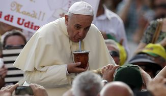 Pope Francis Pope Francis drinks from a mate gourd, a traditional South American cup, that was offered by faithful as he arrives with his popemobile in St. Peter's Square on the occasion of the weekly general audience at the Vatican, Wednesday, Aug. 27, 2014. (AP Photo/Gregorio Borgia)