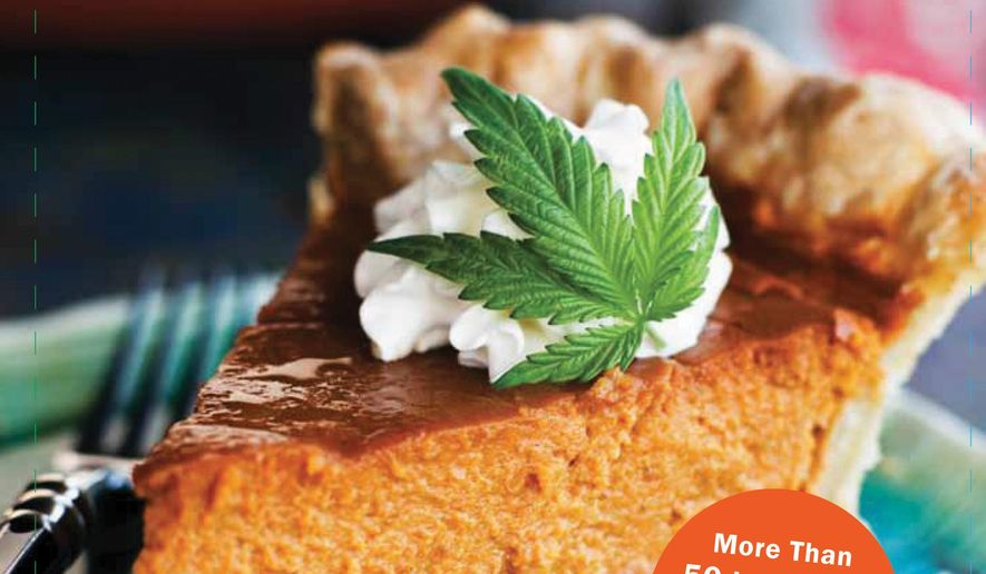 "This undated image provided by Elise McDonough shows the cover of the ""The Official High Times Cannabis Cookbook."" Cannabis cuisine is on the rise in the wake of legalizations around the country. (AP Photo/Chronicle Books, Sara Remington)"