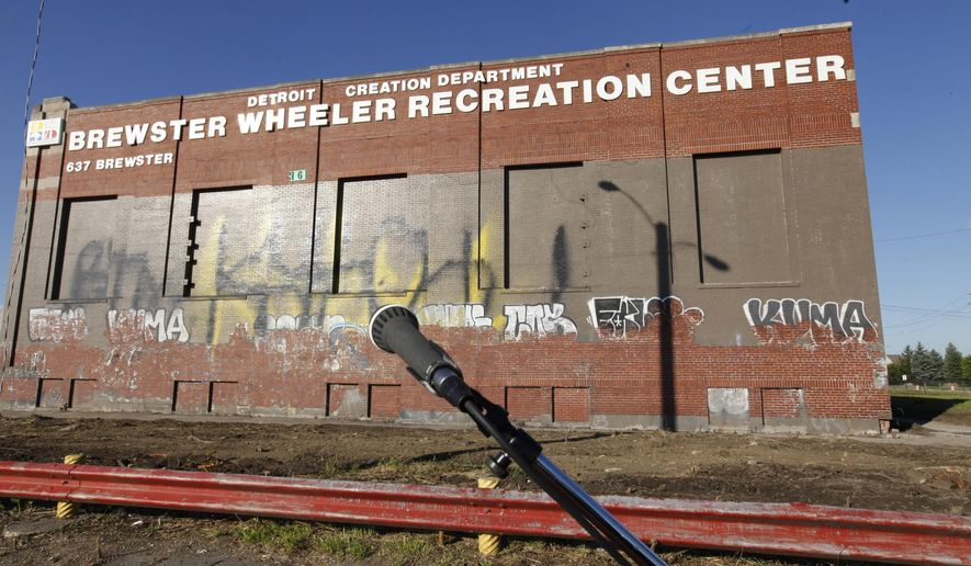 The Brewster Wheeler recreation center is seen at a news conference, Thursday, Aug. 28, 2014, in Detroit. Detroit Mayor Mike Duggan announced that the city is seeking proposals to redevelop the site. (AP Photo/Detroit Free Press, Diane Weiss)  DETROIT NEWS OUT;  NO SALES, TV OUT, MANDATORY CREDIT