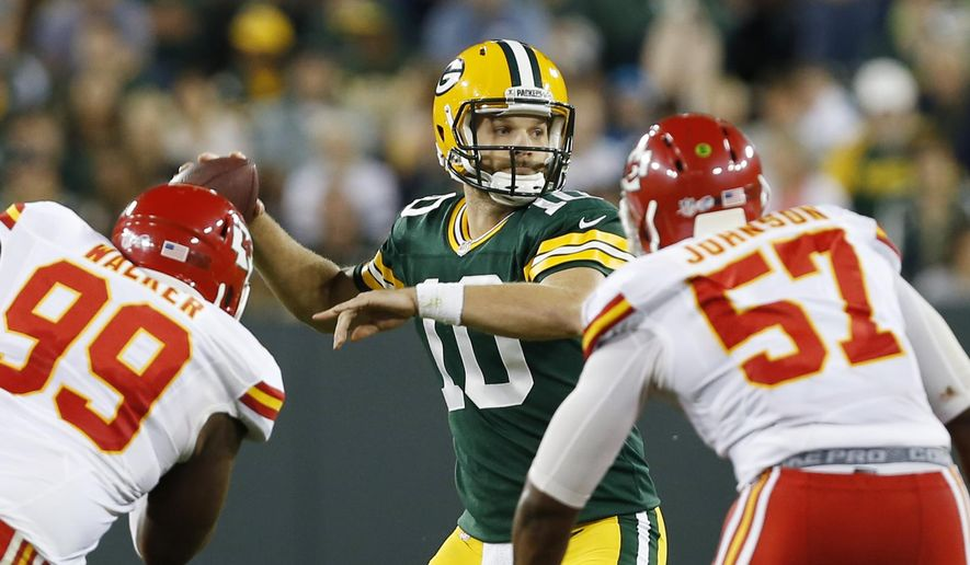 Green Bay Packers' Matt Flynn during the second half of an NFL football preseason game against the Kansas City Chiefs Thursday, Aug. 28, 2014, in Green Bay, Wis. (AP Photo/Mike Roemer)