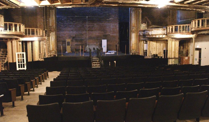 FILE - In this April 5, 2006 file photo, shows the theater of the Homestake Opera House undergoing renovations in Lead, S.D. The opera house which is holding a weekend centennial celebration beginning Friday, Aug. 30, 2014, has undergone renovations since a 1984 fire.  (AP Photo/Joe Kafka, File)