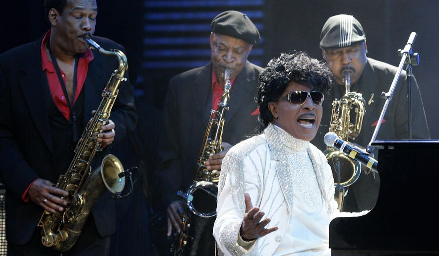 FILE - In this May 30, 2009 file photo, Little Richard performs at The Domino Effect, a tribute concert to New Orleans rock and roll musician Fats Domino, at the New Orleans Arena in New Orleans. Little Richard, the self-proclaimed architect of rock 'n' roll was involved in a car accident in Tenn., but police said there were no injuries. According to a police report, the 81-year-old singer was a passenger in a Cadillac that was struck by another vehicle on Monday, Aug. 25, 2014, in Murfreesboro, Tenn., about 40 miles southeast of Nashville.  (AP Photo/Patrick Semansky, file)