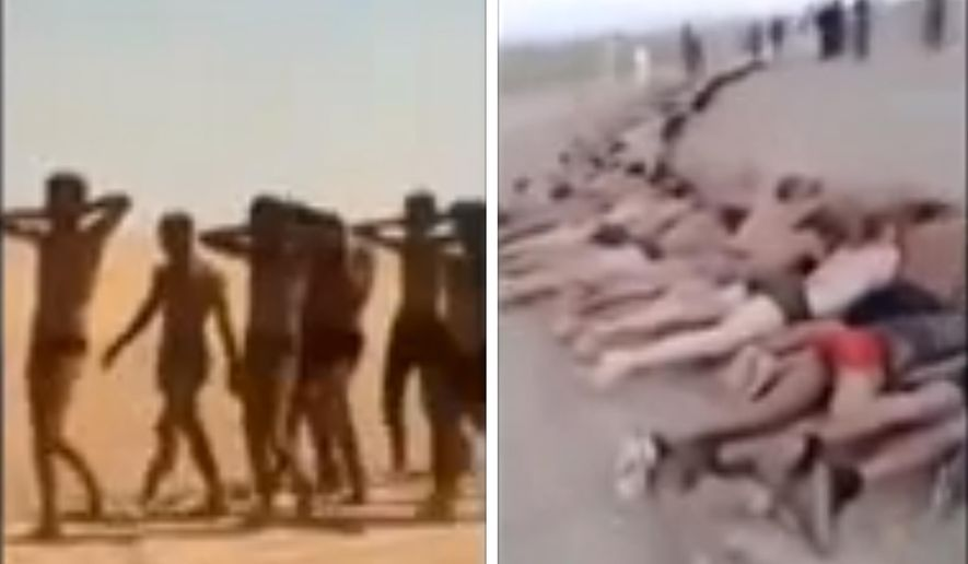 This undated photo combo taken from a video by the Islamic State group, a Syrian opposition group, which has been verified and is consistent with other AP reporting, shows still images of government soldiers captured near Tabqa, Syria according to a statement posted online and circulated on Twitter by supporters of Islamic State group.  The photo to the left shows what the extremist group said were the soldiers stripped down to their underwear marching in the desert. The photo to the right shows more than 150 men apparently killed.   (AP Photo/ The Islamic State group)