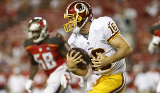 Washington Redskins quarterback Colt McCoy (16) runs for several yards during an NFL preseason football game against the Tampa Bay Buccaneers on Thursday, Aug. 28, 2014, in Tampa, Fla. (AP Photo/Brian Blanco)