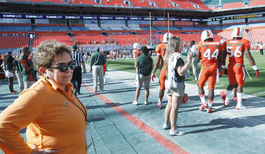 FILE - In this Nov. 17, 2012, file photo, Miami president Donna Shalala watches players during warmups before the start of an NCCA college football game between the Miami and the South Florida in Miami. Shalala would prefer Hurricane athletes get their degrees before leaving school, taking advantage of the scholarships they've been afforded. (AP Photo/Wilfredo Lee, File)