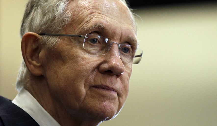 Senate Majority Leader Harry Reid, D-Nev., speaks at The Business of Water conference Friday, Aug. 29, 2014, in Las Vegas. The two-day conference drew more than 100 corporations, Main Street businesses, municipal water agencies and business associations, organizers said. (AP Photo/John Locher)