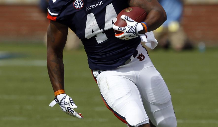 Auburn running back Cameron Artis-Payne (44) carries the ball for a first down against Arkansas during the first half of an NCAA college football game on Saturday, Aug. 30, 2014, in Auburn, Ala. (AP Photo/Butch Dill)