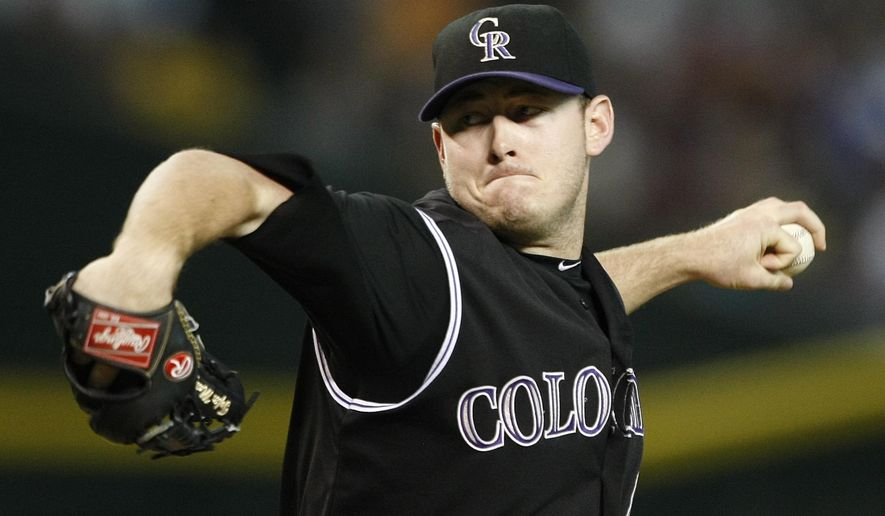 Colorado Rockies starting pitcher Tyler Matzek throws in the first inning during a baseball game against the Arizona Diamondbacks, Saturday, Aug. 30, 2014, in Phoenix. (AP Photo/Rick Scuteri)