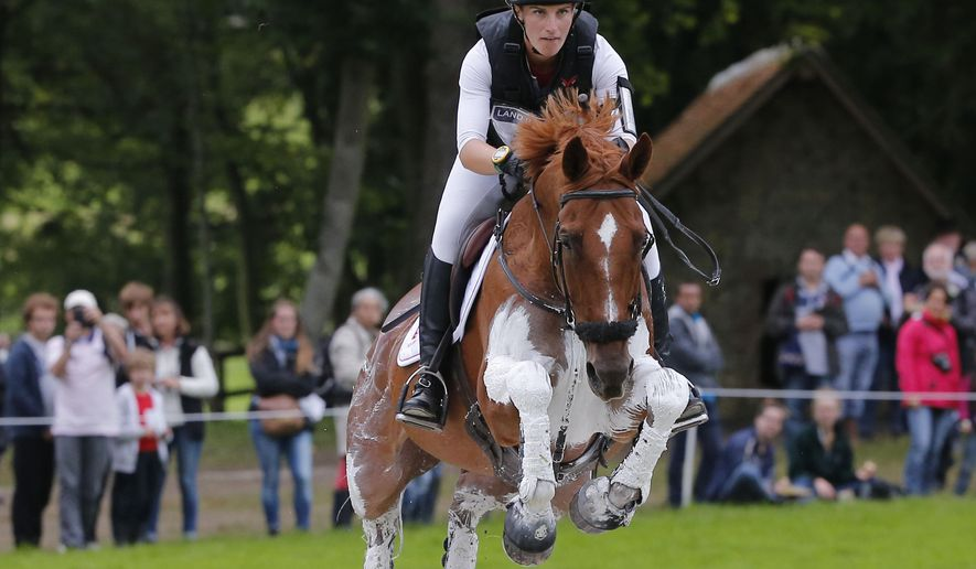 Britain's William Fox-Pitt rides Chilli Morning during the cross-country test of the Eventing competition at the FEI World Equestrian Games, at the French National Stud, in Le Pin-au-Haras, western France, Saturday, Aug. 30, 2014. (AP Photo/Michel Euler)