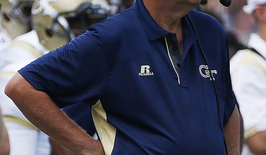 Georgia Tech head coach Paul Johnson watches play against Wofford during the second half of an NCAA college football game, Saturday, Aug. 30, 2014, in Atlanta. Georgia Tech won 38-19. (AP Photo/Mike Stewart)
