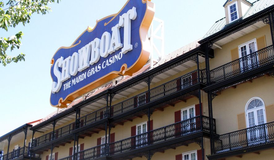 This photo taken on June 27, 2014, shows the exterior of the Showboat Casino Hotel in Atlantic City N.J. The Showboat's owner, Caesars Entertainment, said on Wednesday, Aug. 27, 2014,  that the casino will definitely close on Sunday, Aug. 31. (AP Photo/Wayne Parry)